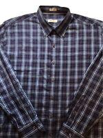 PETER MILLAR Blue Brown Plaid Button-Down Casual Dress Shirt Mens XL Long-Sleeve