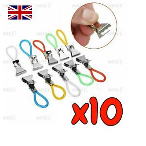 10pcs Tea Towel Clips Metal Loops Hand Towel Hangers Dish Cloth Tea Kitchen UK