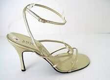 ANNE KLIEN COLLECTION Classic Gold Leather Heels Sandals Ankle Strap Size 10 NEW