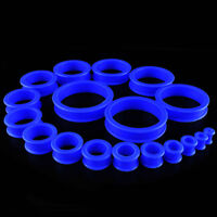1 Pair Blue Soft Silicone Flexible Ear Tunnels Plugs Gauges Earlets Eyelets