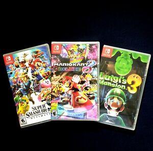 Nintendo Switch Super Smash Bros, Mario Kart 8 & Luigi's Mansion 3(Brand New)