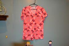 SB SCRUBS TOP Pink with Butterflies S/CH
