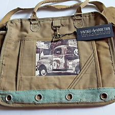 Antique Truck Laptop Messenger Bag Tote Recycled Canvas Vintage Addiction Khaki
