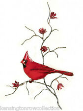 WALL ART - CARDINAL IN RED FLOWERING TREE METAL WALL SCULPTURE - WALL DECOR