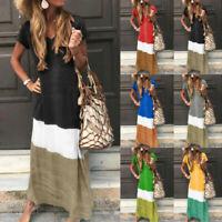 Women Lady Daily Tie-dyed Color Block Loose V Neck Short Sleeve Plus Maxi Dress