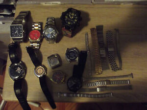 collection of mens watches ,not working and mens and ladies watch bands