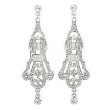 Bella Krystal Rhodium Plated Swarovski Crystal Chandelier Earrings 7.5cm bridal
