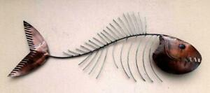 Unusual Hand Made Abstract Fish Bone Wall Art Burnt Copper 80cm