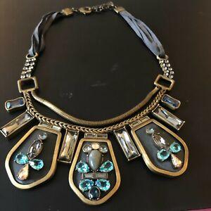 Silpada K&R Necklace Statement Blue Streak Brass Blue Stone Boho Glam