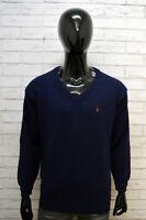 RALPH LAUREN Maglione Cardigan Blu Lana Uomo Taglia L Pullover Felpa Sweater Man
