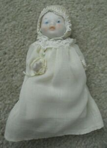 """Vintage Japan Bisque Jointed Baby Boy Doll 4 1/2"""" Tall"""