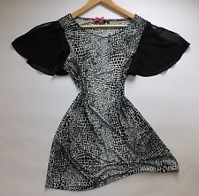 STAR BY JULIE MACDONALD Thigh Length summer Shift Dress Size 16 Black/ White New