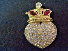 "Swarovski Swan Signed Goldtone Heart & Crown Brooch 1.75"" Beautiful 236"