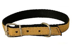 BEIGE Strong NYLON Dog Puppy Collar BLACK PADDED Web