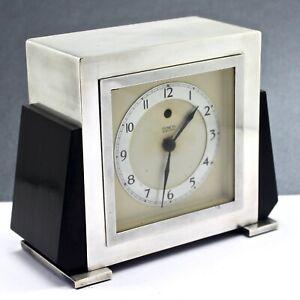 Vint.TEMPCO Art Deco Electric Mantle Clock Plated Silver BLACK BAKELITE 1935 MFG