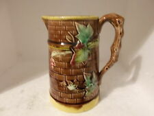 Antique Majolica Relief Leaf Moulded Jug