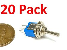 20 Pieces Subminiature toggle switch on/on 3pin blue 3/16 5mm SMTS-102 spdt G24