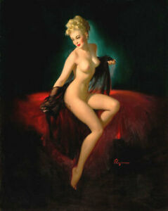 SALE Gil Elvgren UNVEILING NUDE Original Painting Pin-Up Sheer Negligee Pinup