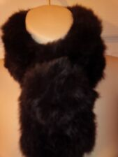 1 x Real Rabbit Fur Chocolate Brown Neck Scarf / Choker  IMMACULATE