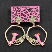 Women's Enamel Crystal Bird Round Earbob Dangle Betsey Johnson Earrings Gift