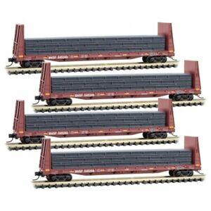 N Scale MICRO-TRAINS LINE 993 00 157 BNSF Bulkhead Flats w/load 4-Car Runner Pak