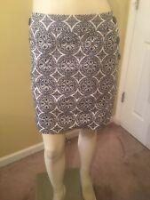 Stoosh Women's Navy Blue / White Print Pencil Skirt Size XL.