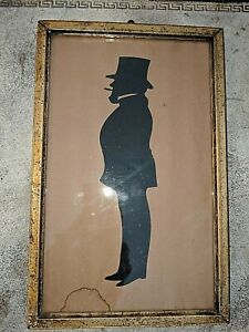 Antique Framed Paper Cut Silhouette 19th Century Gentleman Full Length Portrait