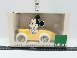 VTG Vilac Disney Mickey Mouse Yellow Wood Car White Wheels Made In France 39260