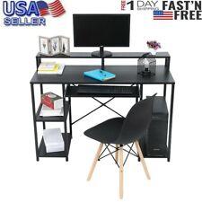 Modern Computer Desk With Storage Shelves Home Desk Workstation Black MIW