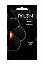 Velvet Black DYLON Hand Wash Fabric Clothes Dye 50g Textile Permanent Colour