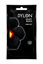 50g Dylon terciopelo negro tinte manual tejido ropa Teñido