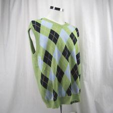 Brooks Brothers Golf Vest 346 Men's Large Green  Supima Cotton Argyle Pattern