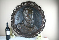 Black forest Wood carved Copper embossed Wall plaque Charles quint portrait
