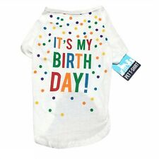 Pet-T-Shirt Large Dog Birthday Outfit White Cotton Polka Dot Short Sleeve
