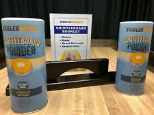 TWO CANS MEDIUM SPEED TABLE SHUFFLEBOARD POWDER WAX + BOARD SWEEP + RULE BOOKLET