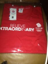"NEW ""TEAM GB"" LADIES T-SHIRT - RED - SIZE SMALL - BELIEVE IN EXTRAORDINARY"