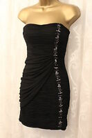 Forever Unique Strapless Black Stone Embellished Ruch Mini Body Party Dress 8 36