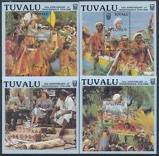 1988 TUVALU INDEPENDENCE 10th ANNIV SET OF 4 M/SHEETS FINE MINT MNH SPECIMEN OPT