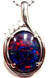 Natural Black Triplet Opal Pendant  FREE JEWELLERY BOX Opal Size 12x10mm