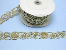 """Beaded Sari Saree Border Gold with Faux Pearl Embroidered 1 5/8"""" (41mm) Per Mtr"""