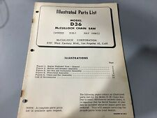 mcculloch chainsaw D36 illustrated parts list,Mcculloch July 1958