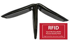 Black RFID Blocking Security Men Card Holder Id Credit 100%. leather Wallet Safe