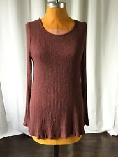 Altard State Womens Top Ribbed Draped Lace Up Back Stretch Ribbed Brown Size L