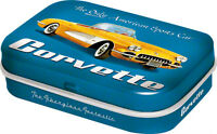 Retro Tin Metal Pill Box 'CORVETTE' w Mints 6x4cm Americana Licensed Product