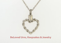 Intertwined Heart Cremation Jewelry Pendant Keepake Memorial Urn- Funnel & Chain