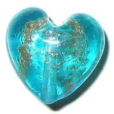 4 Pcs Lampwork Heart Glass Beads - 20mm - Aqua - A3982