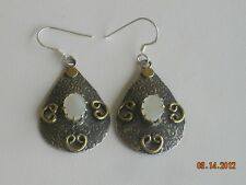 New Handmade Sterling Silver Gold Mother of Pearl Oxidized Dangle Hook Earring