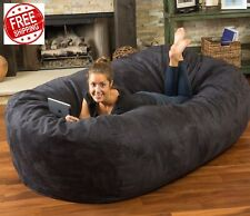 Huge Bean Bag 8ft Giant Xl Chair Faux Suede Lounger Large Black Big Sofa 8 Foot