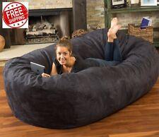 Huge Bean Bag 8ft Giant XL Chair Faux Suede Lounger Large Black Big Sofa 8 Foot