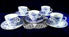 Excellent 5 Royal Copenhagen Half Lace Blue Fluted Demitasse Cups & Saucers EUC